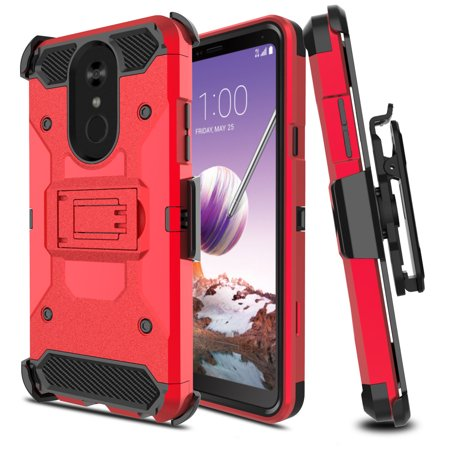 competitive price a93e8 85469 LG Q7 Case, LG Q7 Plus Case, with [Tempered Glass Screen Protector] Full  Coverage [Tank Armor]Dual Layers Phone Cover with Kickstand and Locking  Belt ...