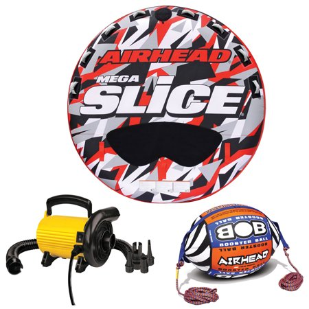 Airhead Mega Slice Inflatable 4 Rider Raft with Tow Rope Buoy Ball and Pump