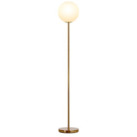 Antique Brass Led - Brightech Luna - Frosted Glass Globe LED Floor Lamp - Mid Century Modern, Standing Lamp for Living Rooms - Tall Pole Light for Bedroom & Office - with LED Bulb - Antique Brass