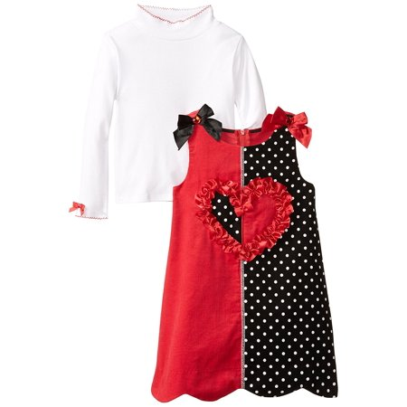 Bonnie Jean Toddler Girl Solid And Dot Print Colorblock Panel Corduroy Jumper Dress, (Corduroy Print Jumper)