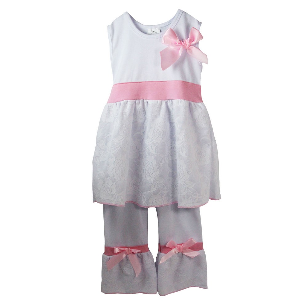 Dress Up Dreams Boutique Little Girls Pink White Sleeveless Bow Lace Boutique Pant Outfit Set 12M - 6