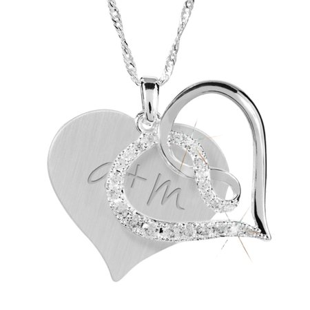 Infinity Heart Necklace - Infinity Heart Crystal Swing Necklace