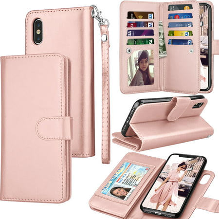 iPhone Xs Max / iPhone XS / iPhone X / iPhone XR Wallet Case Cover, Pu Leather ID Cash Credit Card Slots Holder Carrying Folio Flip Cover [Detachable Magnetic Hard Case] Kickstand (Hard Leather Carry Case)