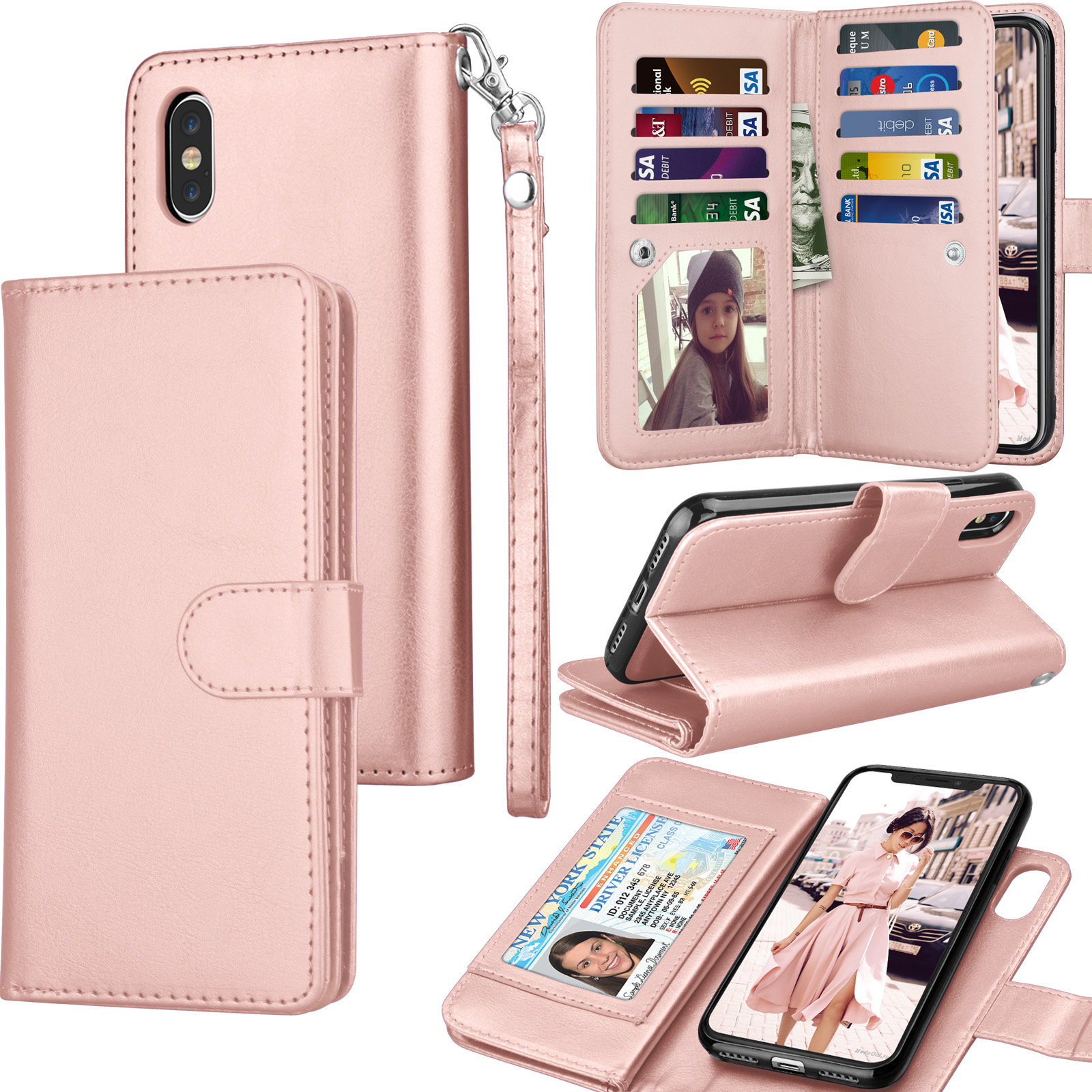 iPhone Xs Max / iPhone XS / iPhone X / iPhone XR Wallet Case Cover, Pu Leather ID Cash Credit Card Slots Holder Carrying Folio Flip Cover [Detachable Magnetic Hard Case] Kickstand
