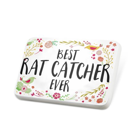 Porcelein Pin Happy Floral Border Rat Catcher Lapel Badge – (Pink Floral Border)