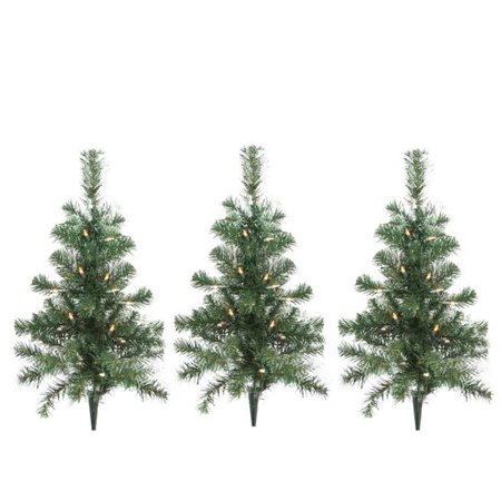 Pack of 3 lighted christmas tree driveway or pathway for Outdoor tree decorations