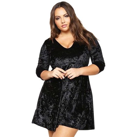 Luxury Divas - Black Velour Plus Size Babydoll Skater Dress ...