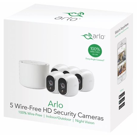 Arlo 720P HD Security Camera System VMS3530 - 5 Wire-Free Battery Cameras with Indoor/Outdoor, Night Vision, Motion