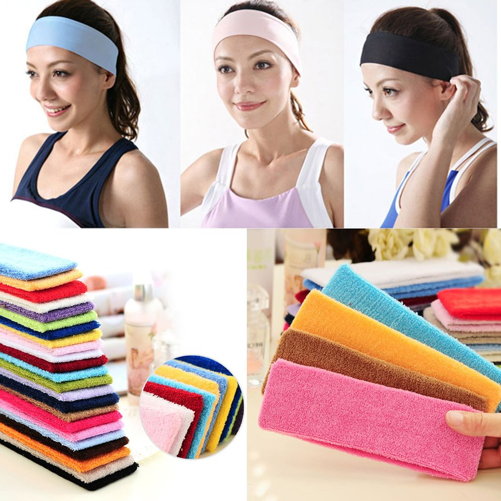 Yellow Yoga Hair Band 1 Women Yoga Soft Cotton Stretchy Headband Sports Sweatband Fitness Headband