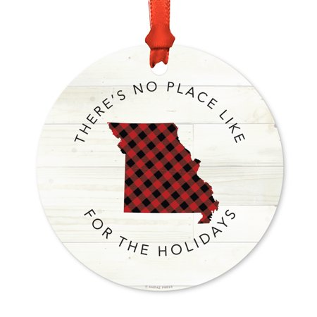 Us State Round Metal Christmas Ornament  Red Plaid On Light Rustic Wood  Missouri  Includes Ribbon And Gift Bag