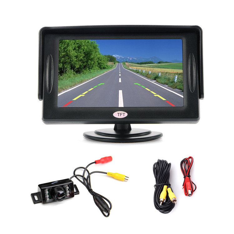 "4.3"" LCD Car Rear View Backup Monitor + IR Car Rear View Camera with RCA Video Cable"