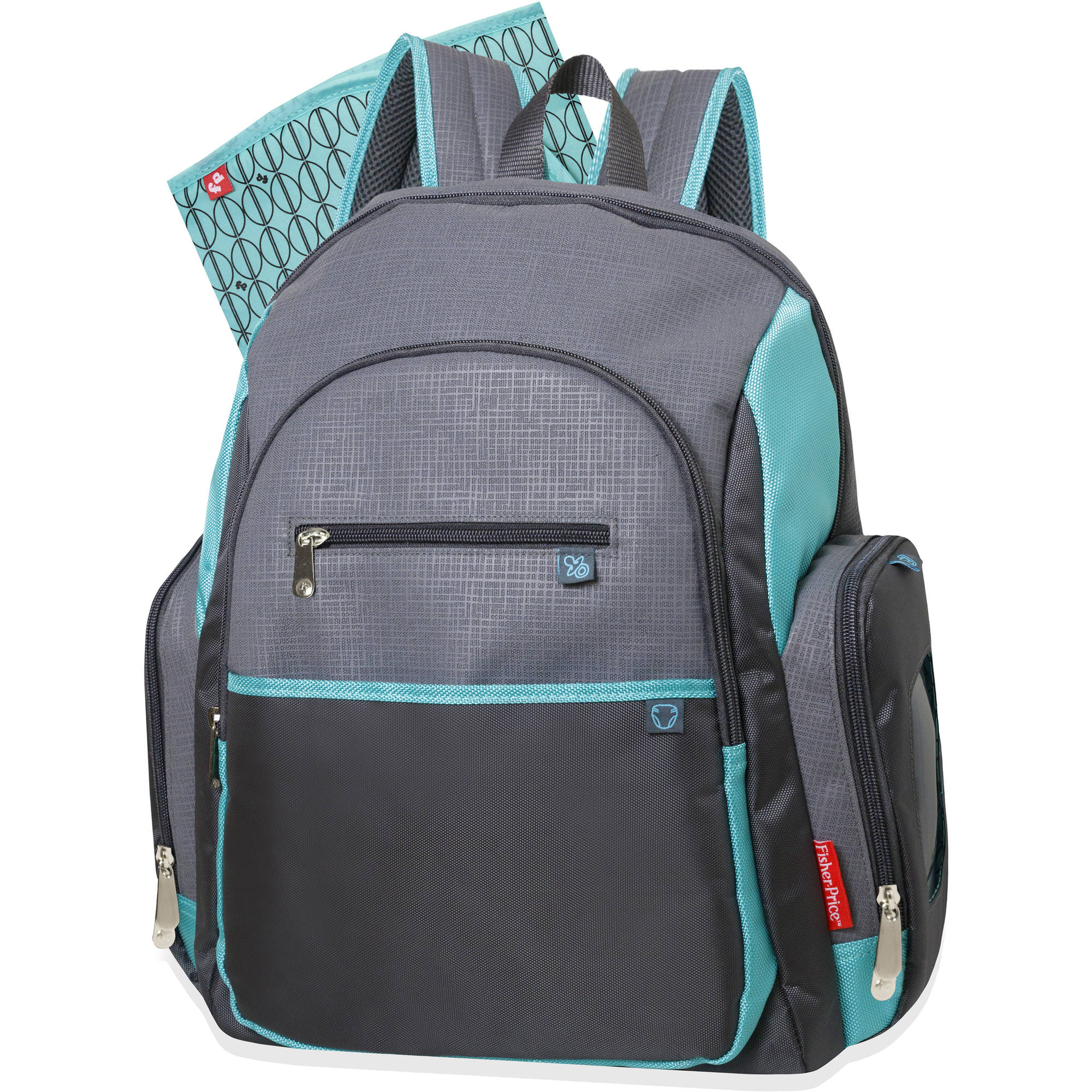 Fisher-Price Gray/Teal Deluxe Backpack Diaper Bag
