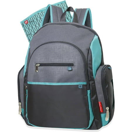 fisher price deluxe backpack diaper bag gray and teal. Black Bedroom Furniture Sets. Home Design Ideas