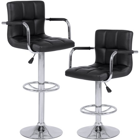 Best Choice Products Set of 2 Height Adjustable Ergonomic Swivel PU Leather Pub Bar Stools - Black