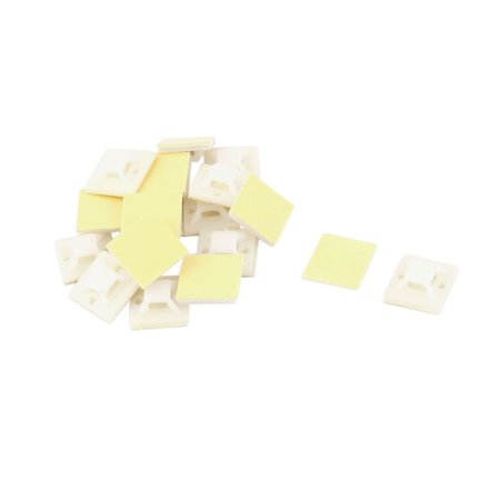 Plastic Square Self-Adhesive Fixed Cable Tie Base White 0.79 Inch Width 20pcs - image 3 de 3