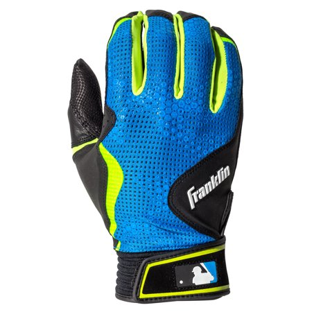 Franklin Sports Freeflex Series Batting Gloves Black Electric Blue Adult Medium