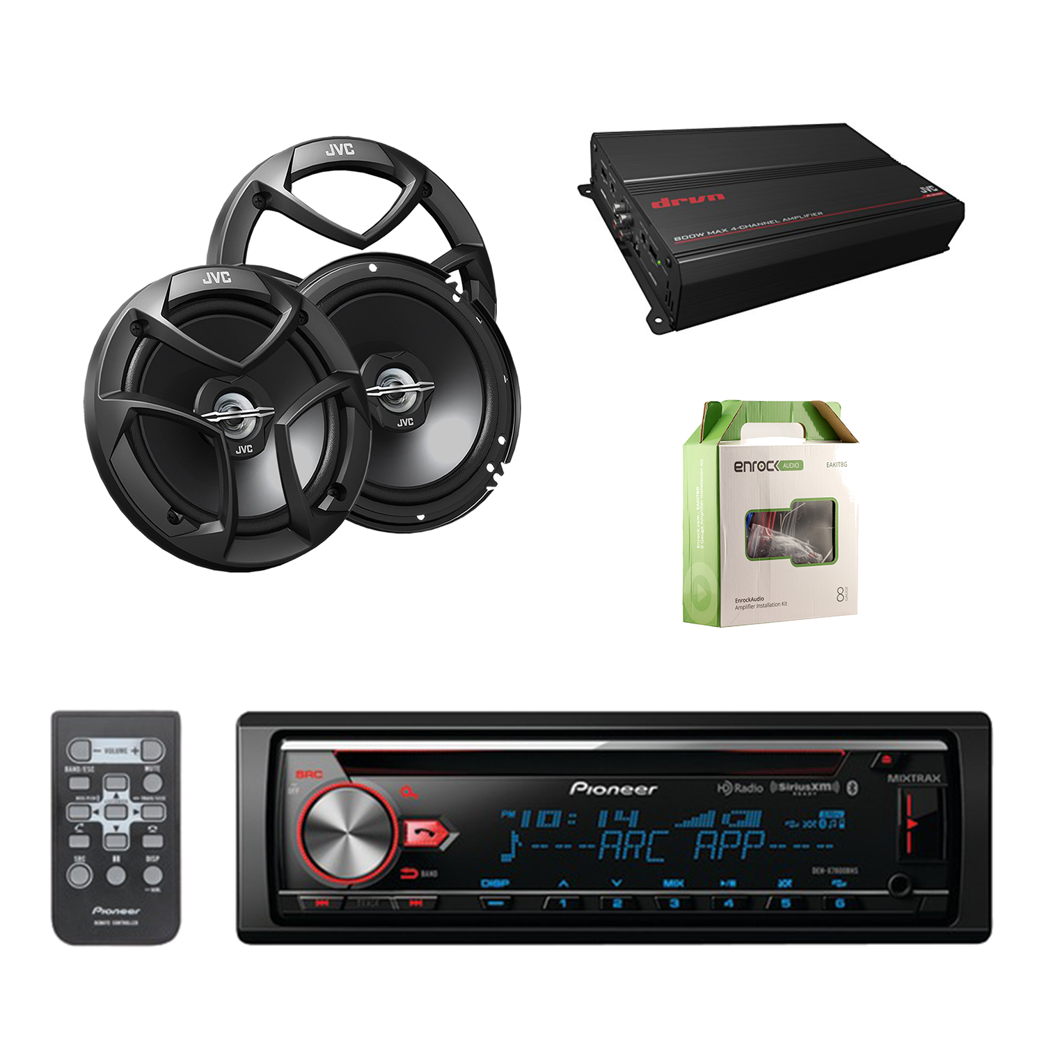 "Pioneer CD Bluetooth Receiver with Enhanced Audio Functions with JVC 6.5"" Car Audio 2-Way Coaxial Speakers System Pair, JVC 4-Channel Power Amplifier and Enrock Amplifier Wiring Installation Kit."