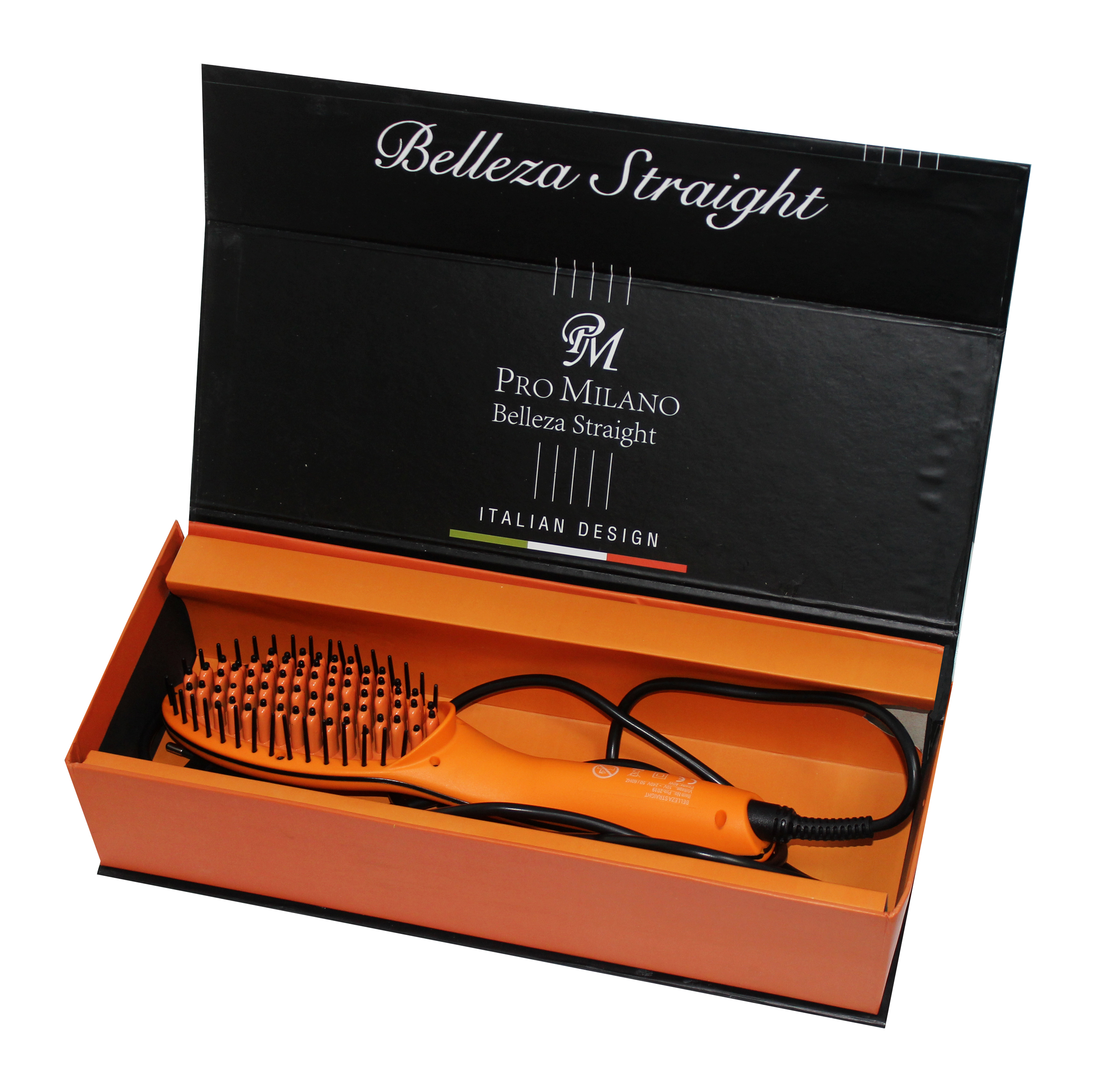 IGIA Women's Professional Milano Hair Straightening Brush Comb -Orange