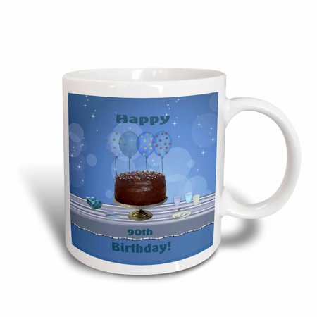 3dRose 90th Birthday Party with Chocolate Cake and Blue Balloons, Ceramic Mug, 11-ounce](90th Birthday Balloons)