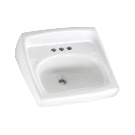 American Standard 0355.027.020 Lucerne Wall Mounted Lavatory Sink for Exposed Bracket Support (not included) with Three Faucet Holes (4 Centers),