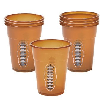 Football Disposable Cups - Sports & Game Day by Oriental Trading Company, Disposable plastic cups that resemble a football By Fun Express for $<!---->