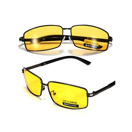 Polarized UV400 Yellow Len Night Vision Glasses Outdoor Driving Sport Eyewear Sunglasses Anti Glare (Polarised Vision)