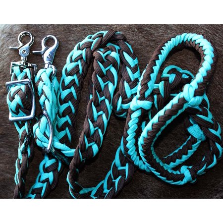 Horse Knotted Braided Roping Western Barrel Reins Teal Brown Rein 60764