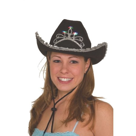 Black Cowboy Cowgirl Light Up Hat W/ Tiara Western Child Costume - Black Cowgirl Hat With Rhinestones