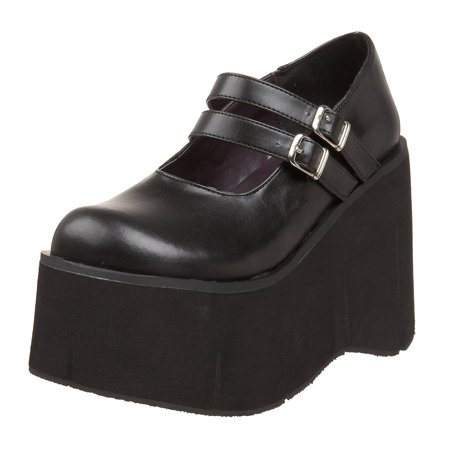 Womens Gothic Platform Wedges Black Mary Jane Shoes Double Strap 4 3/4 Inch - Double Strap Mary Jane