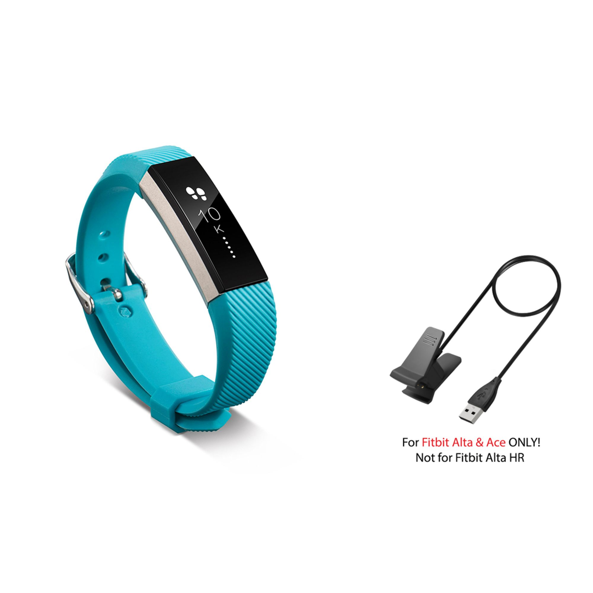 Zodaca 2 Pcs Replacement Wrist Band with USB Charging Cable for Fitbit Alta / Ace - Turquoise
