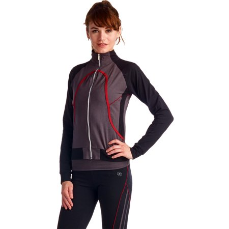 La Society Womens Yoga Fitness 3 Piece Grey Black Red Work Out Suit