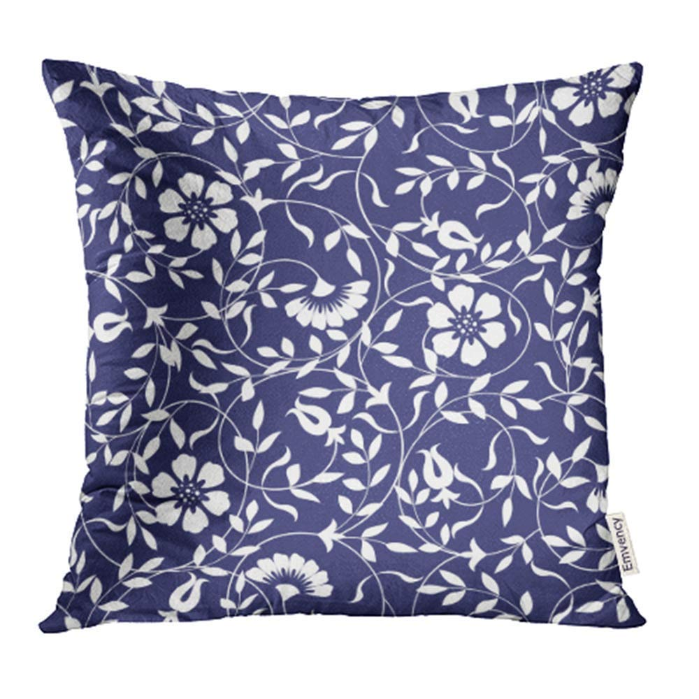 USART Black Carpet Abstract Floral Pattern Blue White Tiles Nature Oriental Pillowcase Cushion Cases 16x16 inch