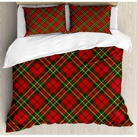 checkered queen size duvet cover set irish tartan plaid motifs in christmas colors geometrical crossed