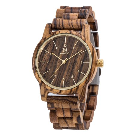 Mens Classic Casual Natural Wood Watch Quartz Wooden Band Gift Giving Wrist Watch Color:Zebrawood
