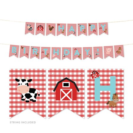 Red Farmhouse Barnyard Birthday, Hanging Pennant Party Banner with String, Happy Birthday!, 5-Feet, 1 - Party Pennant Banner