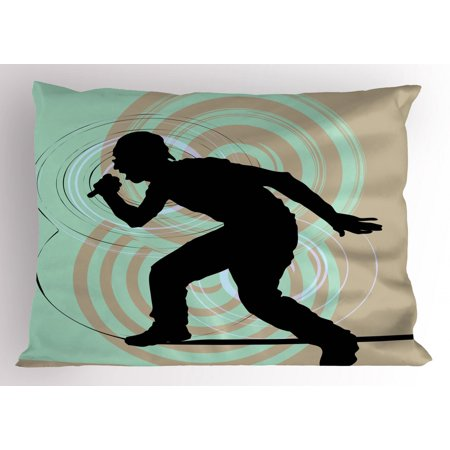 Hip Hop Pillow Sham Rap Musician with Microphone Silhouette Singing at the Stage Theme Funky Backdrop, Decorative Standard Size Printed Pillowcase, 26 X 20 Inches, Multicolor, by - Backdrop City Hip Hop