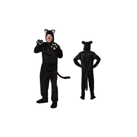 Sequin Cat Suit (Men's Deluxe Black Cat Body Suit Costume 4 Piece set)
