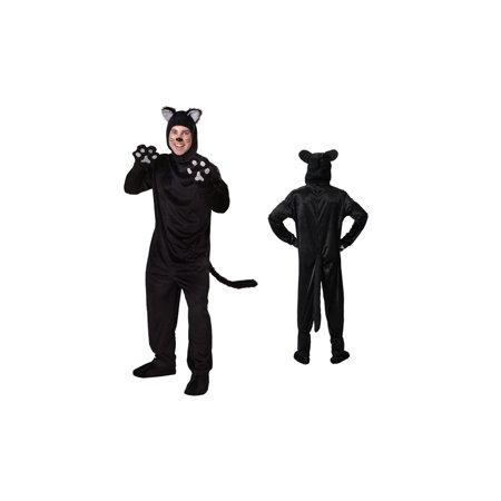Men's Deluxe Black Cat Body Suit Costume 4 Piece set (XL) - Little Girl Black Cat Costume