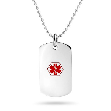 Stainless Steel Diabetic Medical Alert ID Dog Tag Necklace 19in - Medical Jewelry Id Plate
