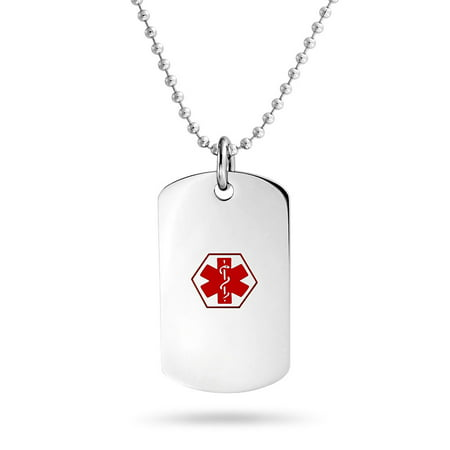 Stainless Steel Diabetic Medical Alert ID Dog Tag Necklace 19in - Custom Dog Tag Necklace