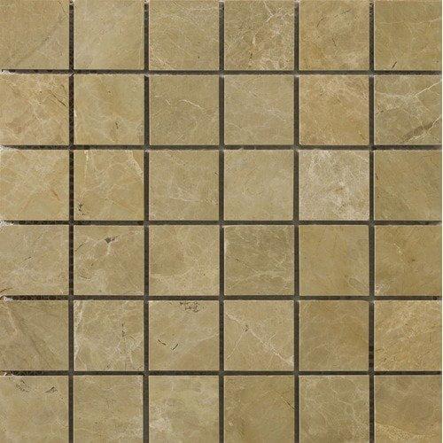 Emser Tile 2'' x 2'' Polished Marble Mosaic in Emperador Light