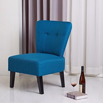 Blue Accent Chair with Black Finish Legs, Contemporary Style Includes Custom Mouse Pad