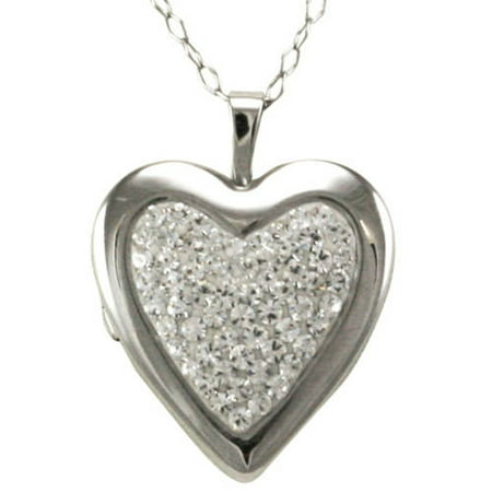 Sterling Silver Heart Locket with Clear Crystals Pendant Necklace