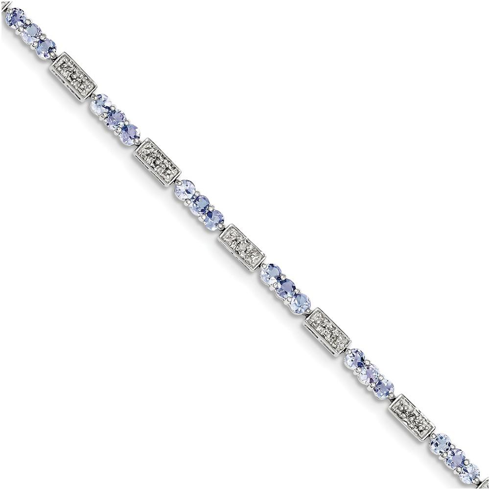 Sterling Silver Tanzanite and Diamond Bracelet QX861TZ by