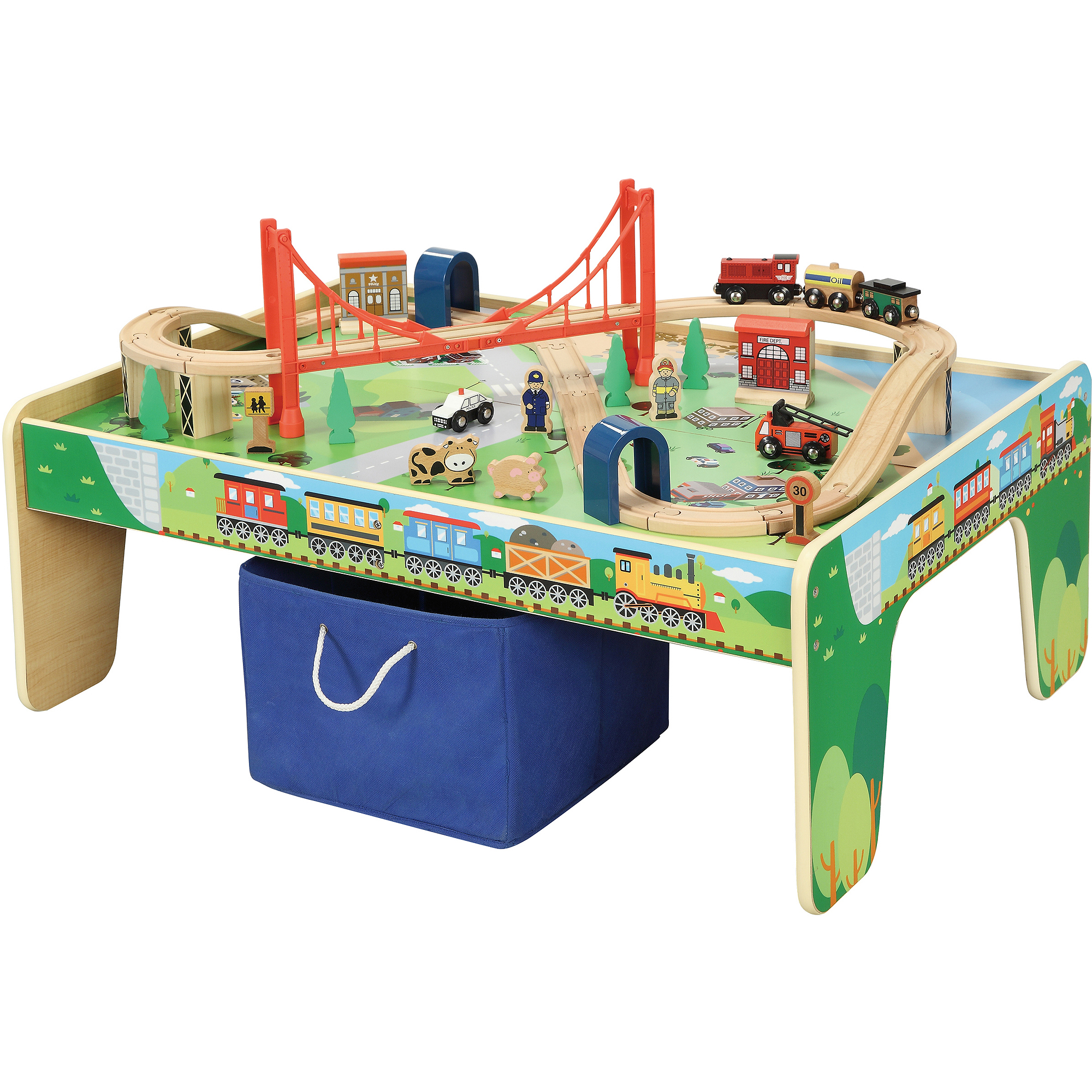 NEW Wooden 50-Piece Train Set with Small Table Thomas Compatible | eBay