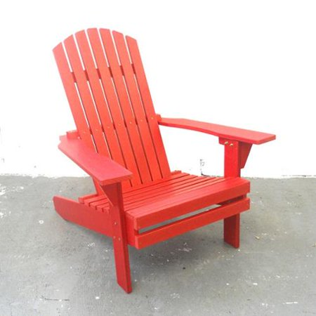 Adirondack Solid Red Plastic Plank Chair