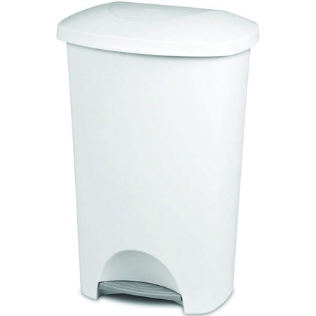 Sterilite Step-on Wastebasket - 11 Gallon Capacity - Solid Color with White Lid