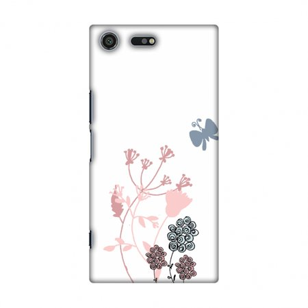 - Sony Xperia XZ Premium Case - Flowers and butterfly- White, Hard Plastic Back Cover, Slim Profile Cute Printed Designer Snap on Case with Screen Cleaning Kit