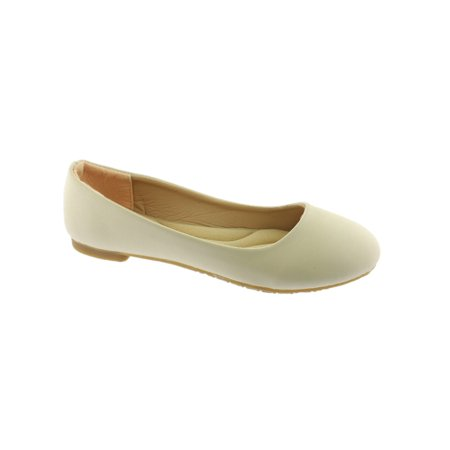 Girls Nude Rounded Toe Slip On Trendy Ballet Flats