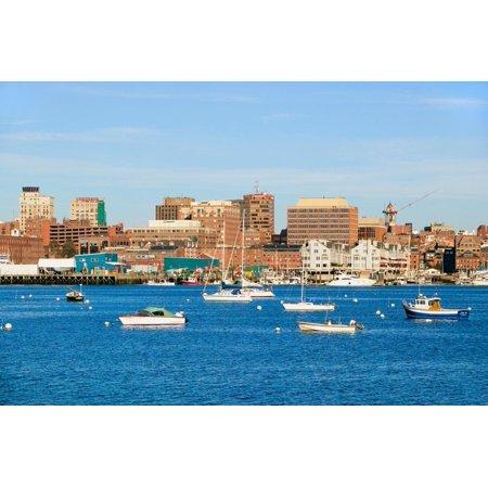 View of Portland Harbor boats with south Portland skyline, Portland, Maine Print Wall (Maine Mall South Portland)